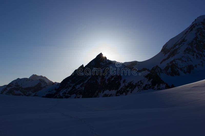 Sunrise in mountain stock photography
