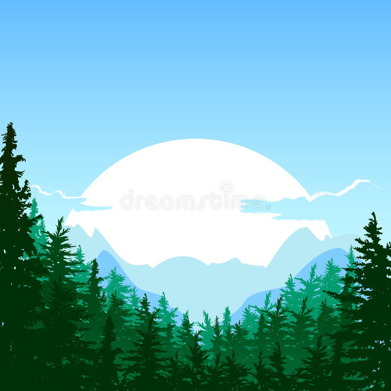 Sunrise in the mountain. Vector summer or spring landscape. Nature background. Design for travel, tourism, environmental and ecology themes. Panorama of vector illustration