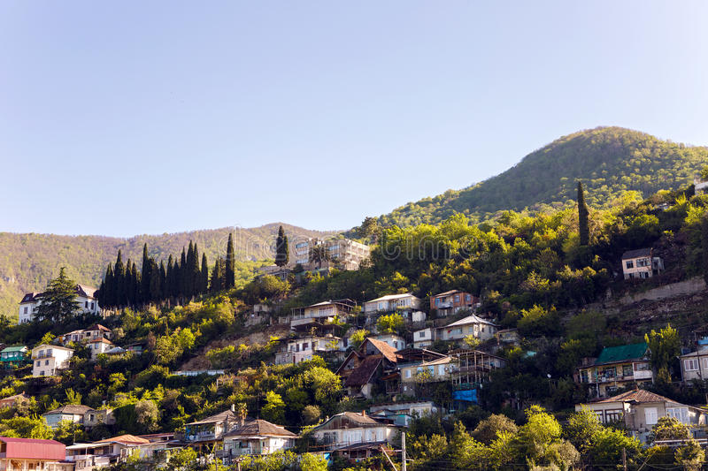 Sunrise in the mountain village in Gagra, Abkhazia royalty free stock images