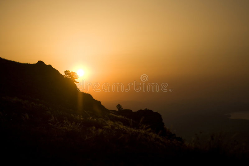 Sunrise in the mountains stock image