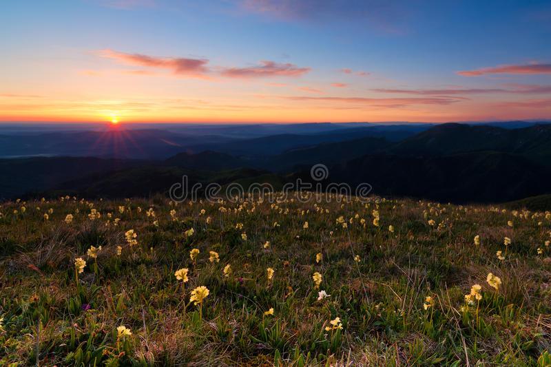 Sunrise in the mountains of the Caucasus. Natural Park of Adygea Big Thach stock images