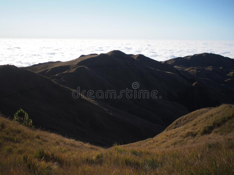 Sunrise at Mt. Pulag. Mount Pulag is the third highest mountain in the Philippines. It is Luzon`s highest peak at 2922 meters above sea level royalty free stock photography