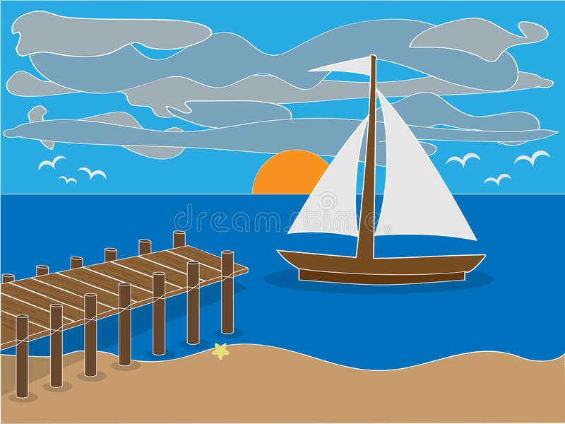Sunrise near dock on beach. With sailboat, clouds and birds surrounding stock illustration