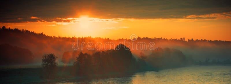 Sunrise near river royalty free stock image