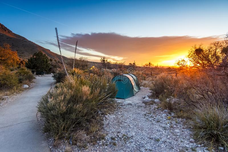 Sunrise after a night of camping. In Guadalupe Mountains National Park, Texas stock image