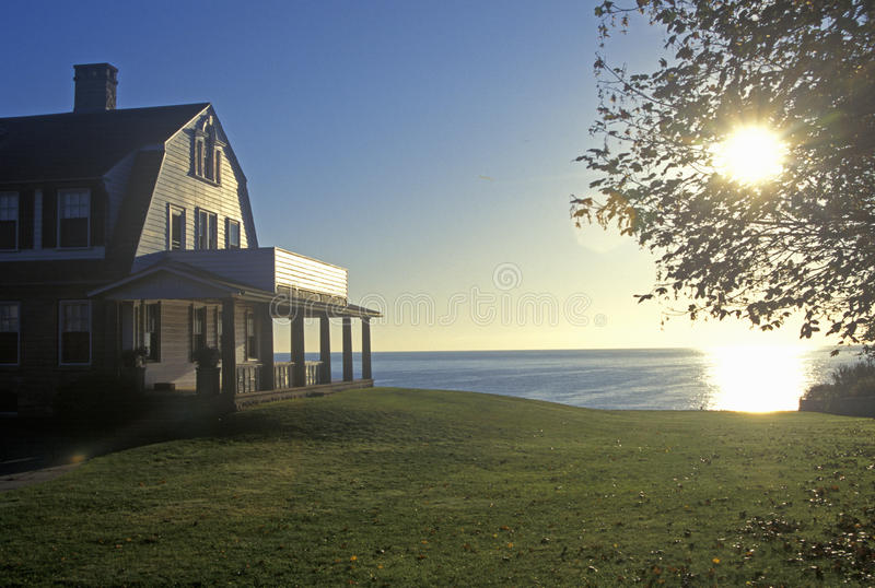 Sunrise on Ocean home, Narragansett Pier, RI royalty free stock photography