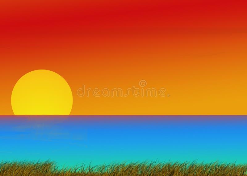 Download Sunrise at the ocean shore stock illustration. Illustration of tropical - 14863962