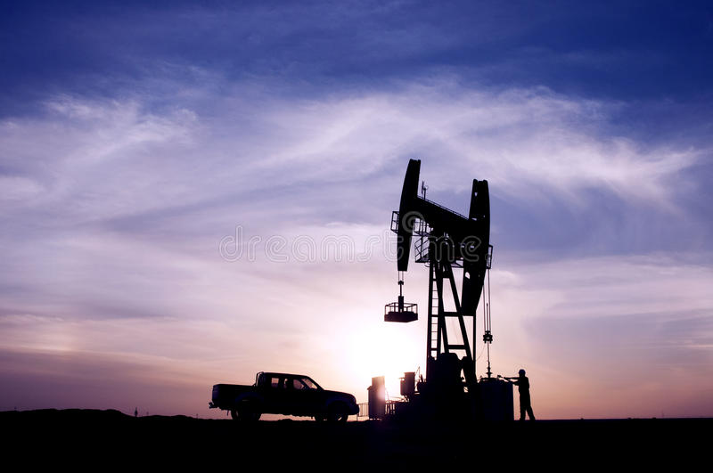Sunrise oil fields. Is beautiful stock photo