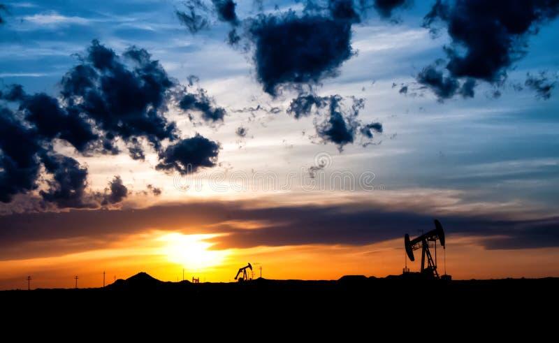 Sunrise oil fields royalty free stock photos