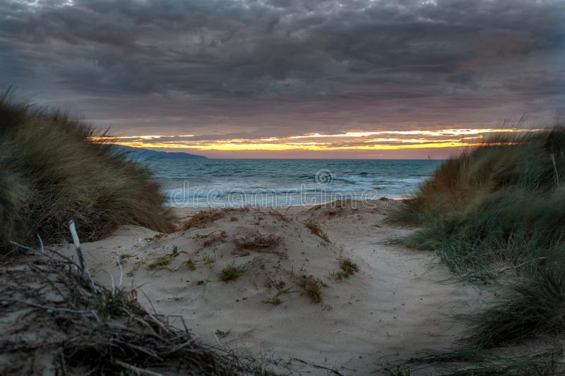 Sunrise at Opollo Bay, Great Ocean Road, Victoria, Australia. Sun starting to rise across the sea with sand dunes and grasses in the foreground royalty free stock image