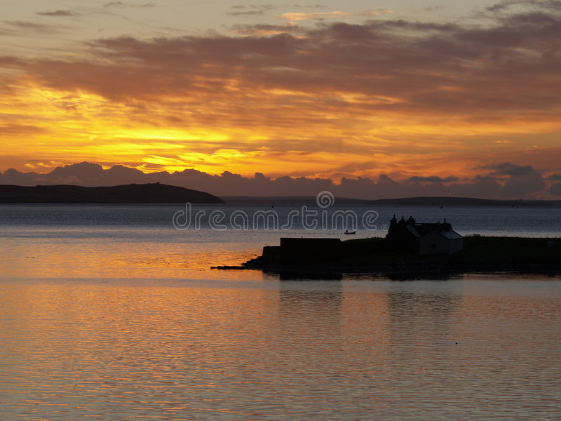 Sunrise on Orney, Scotland stock image