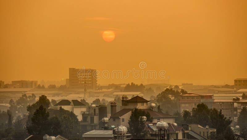 Sunrise over the African city of Addis Ababa, Ethiopia.  royalty free stock image