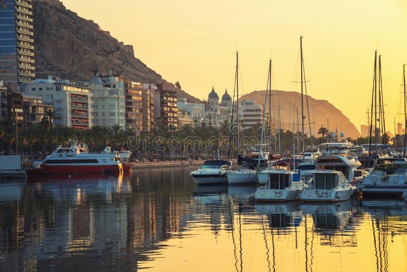 Sunrise over the Alicante harbor, Costa Blanca, Spain stock photo
