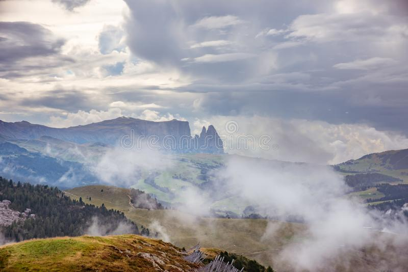 Sunrise over Alpe di Siusi mountains, Dolomites, Trentino South Tyrol, Italy royalty free stock images