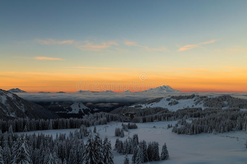 Sunrise over the Alps royalty free stock photo