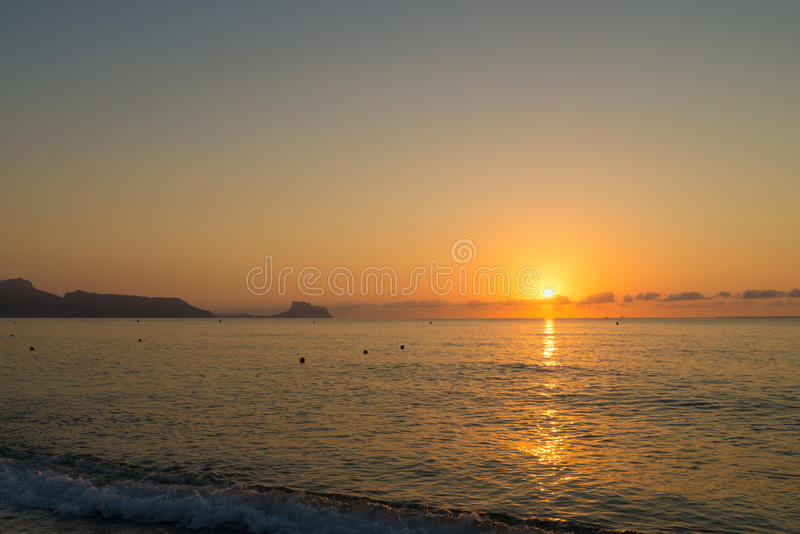 Sunrise over Altea coast stock photography
