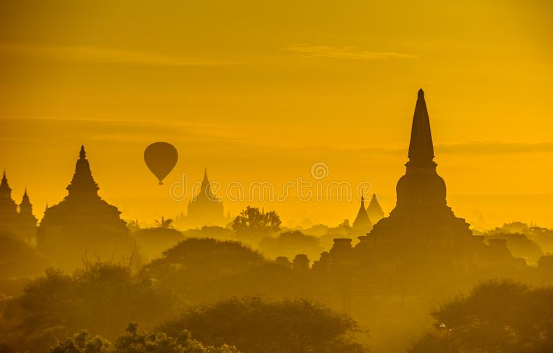 Sunrise over ancient Bagan, Myanmar stock images