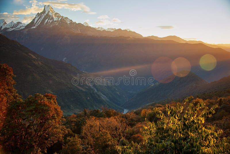Sunrise over the Annapurna mountain range of the Himalayas, Nepal royalty free stock images