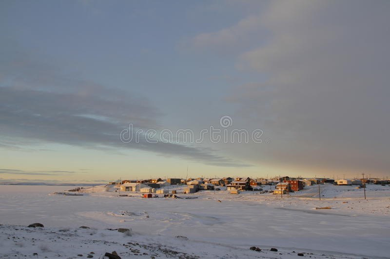 Sunrise over the arctic community of Cambridge Bay stock image