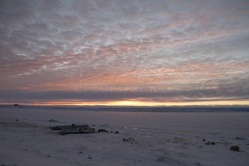 Sunrise over an arctic landscape, near Cambridge Bay Nunavut stock photography