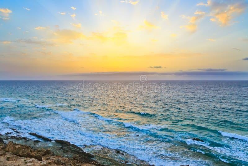 Sunrise over Atlantic ocean stock image