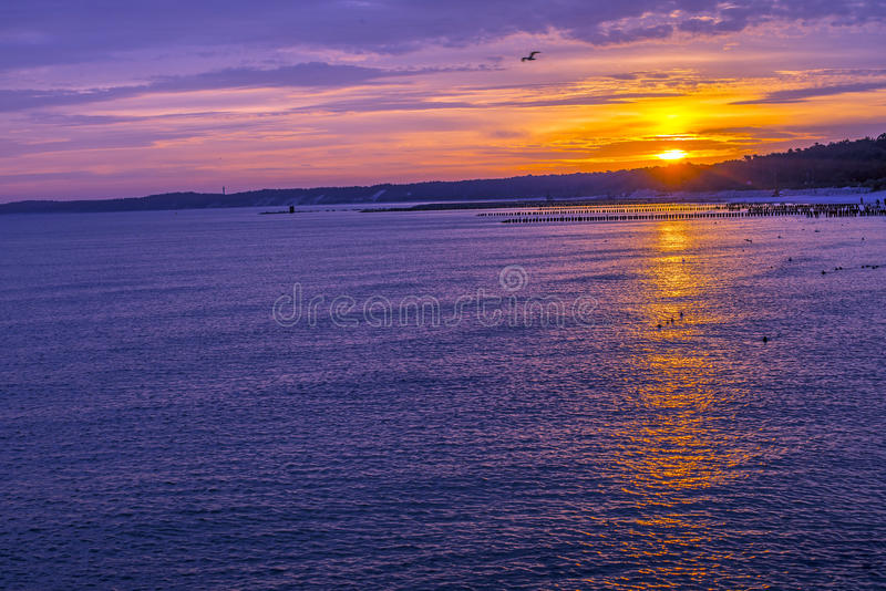Sunrise over the Baltic Sea stock images