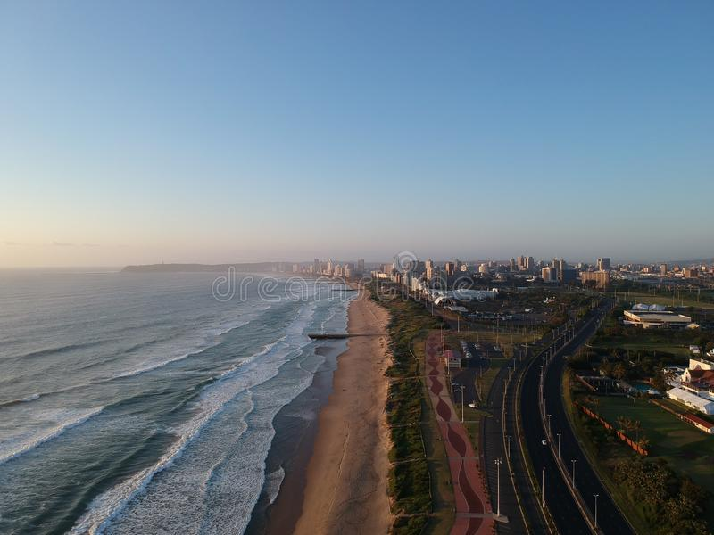 Durban KZN. Sunrise over beautiful KZN with the city of Durban in the background stock photography