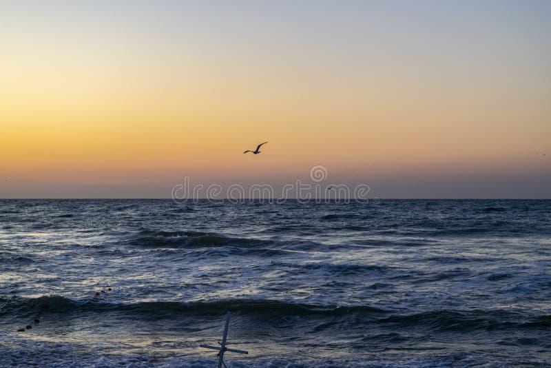 Sunrise over the Black sea, waves on the sandy beach.  stock photo