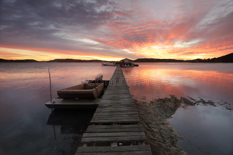 Sunrise over the Brisbane Waters at Woy Woy with Paddy's Oyster stock photo