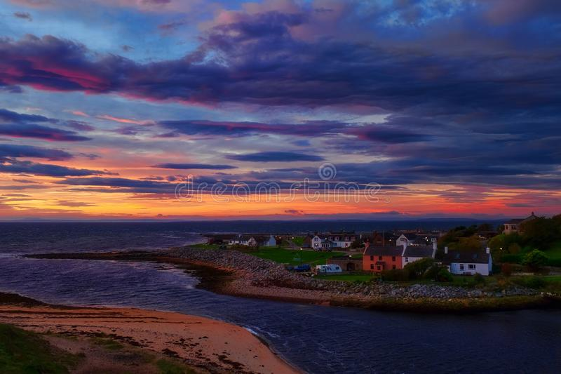 Sunrise over Brora in Sutherland royalty free stock images