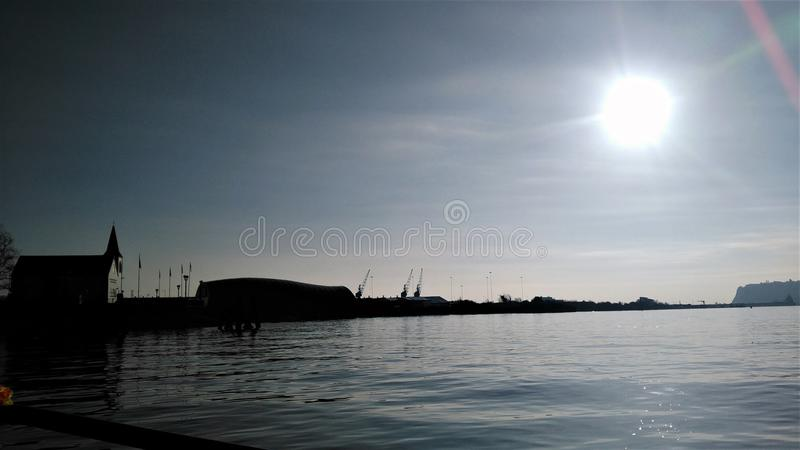 Sunrise over Cardiff Bay. View of Cardiff Bay under a beautiful morning sun Wales royalty free stock images
