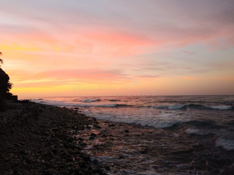 Sunrise over the Caribbean Sea royalty free stock photo