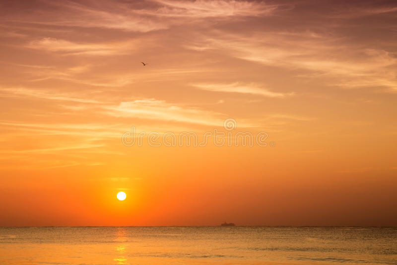 Sunrise over caribbean sea royalty free stock photography