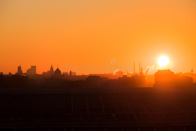Sunrise over the city. royalty free stock image