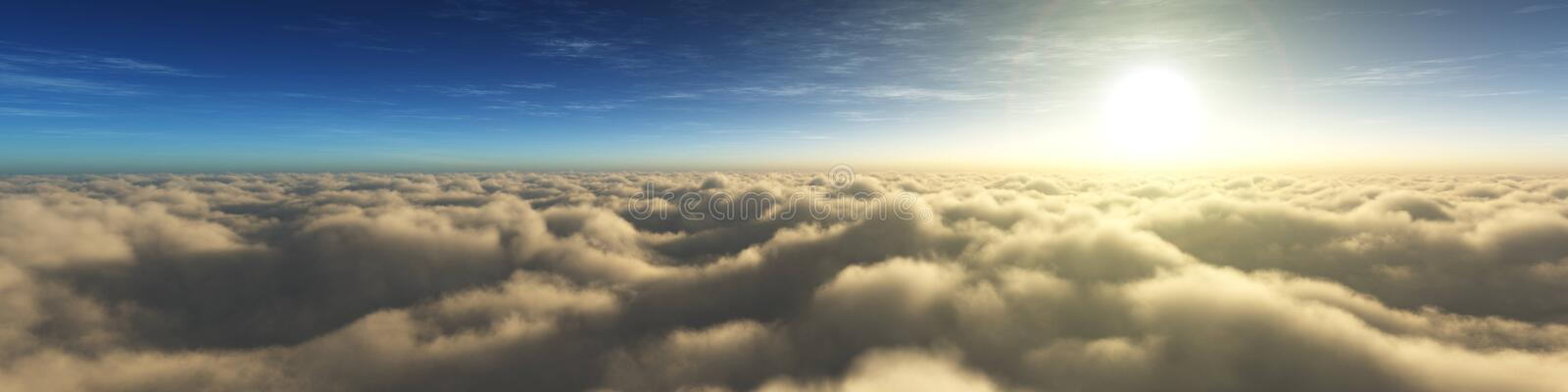Sunrise over the clouds. Sunset over the clouds. The moon in the clouds. Panorama of clouds. royalty free stock photography