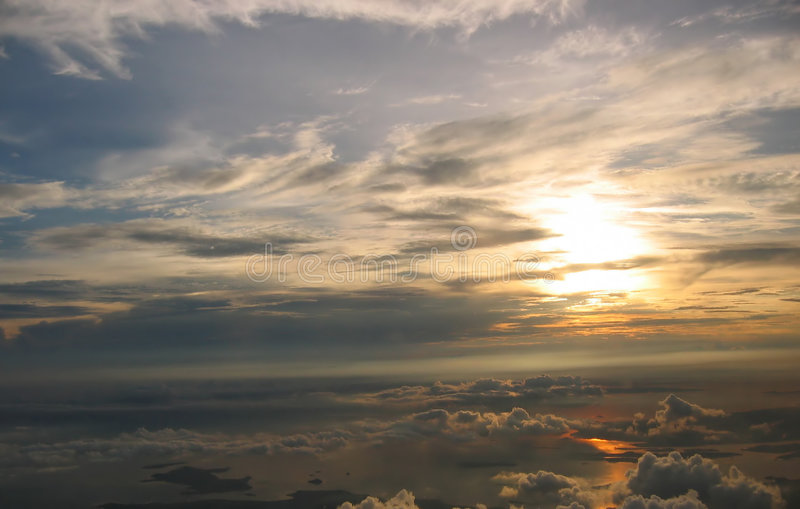 Download Sunrise over cloudscape stock image. Image of atmosphere - 34739