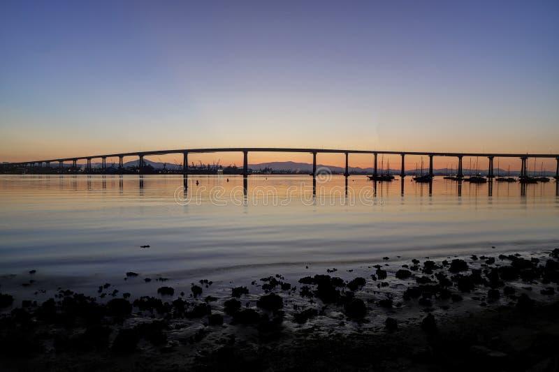 Sunrise over the Coronado Bridge in San Diego, California stock images