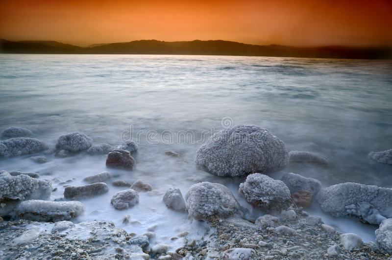 Sunrise over the dead sea royalty free stock images