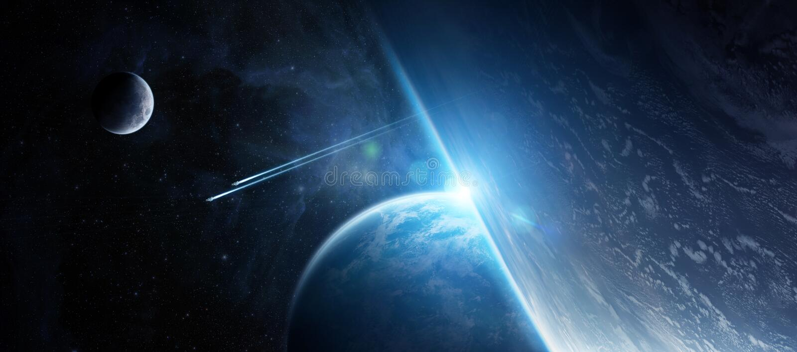 Sunrise over distant planet system in space 3D rendering element royalty free illustration