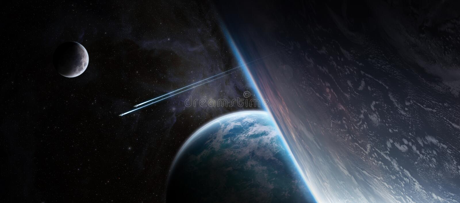 Sunrise over distant planet system in space 3D rendering element vector illustration