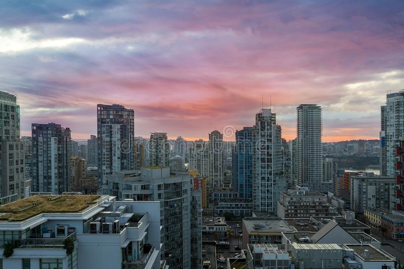 Sunrise over downtown Vancouver BC. Sunrise over city downtown condominiums Vancouver BC British Columbia Canada royalty free stock photography