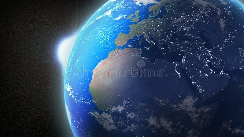 Sunrise over Earth royalty free illustration