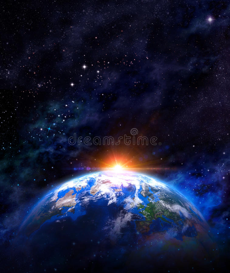 Sunrise over the Earth royalty free stock images