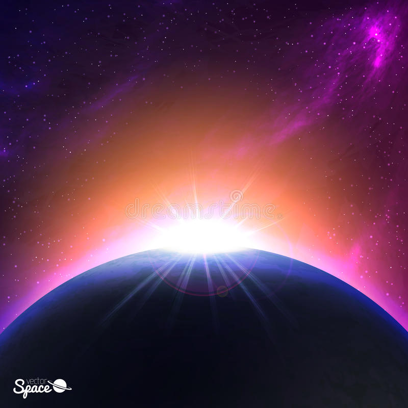 Sunrise over Earth-like planet. Colorful Space background. Vector illustration for your artwork. vector illustration