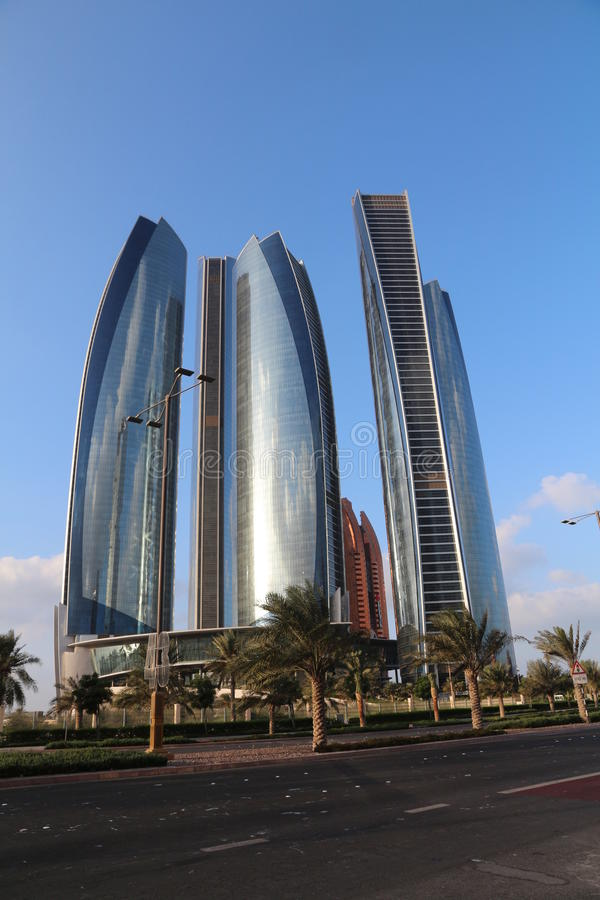 Sunrise over Etidah Towers stock images