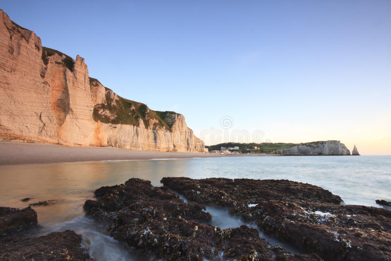 France ,Sunrise over Etretat, Normandy stock images