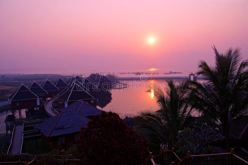 Sunrise over the floating cottages stock images