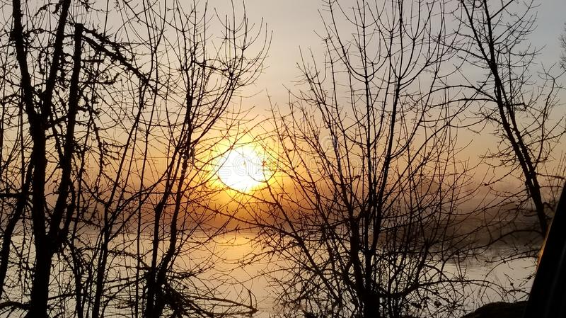 Sunrise and Fog over a pond near lebanon oregon royalty free stock images