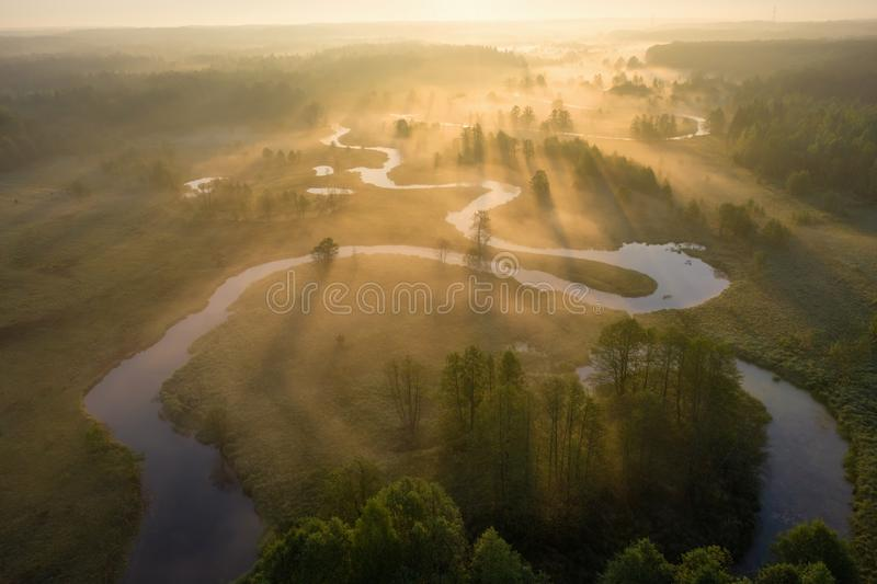 Sunrise over foggy river from above. Bright sunrays on misty river on meadow. Summer nature aerial view royalty free stock images