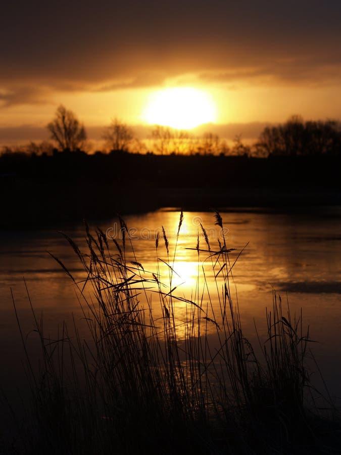 Sunrise over frozen lake stock image